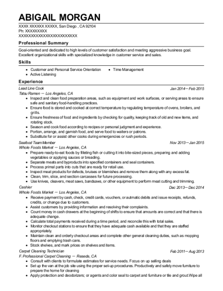 Lead Line Cook resume example California