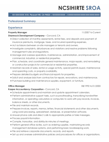 Property Manager resume format California
