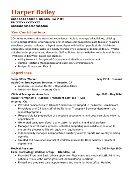 Temp Office Worker resume template California