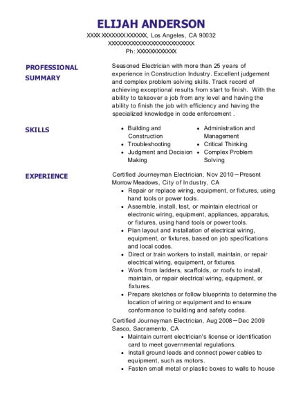 Certified Journeyman Electrician resume sample California
