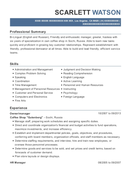 Owner resume format California
