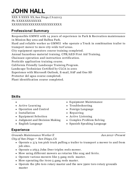 Grounds Maintenance Worker ll resume example California