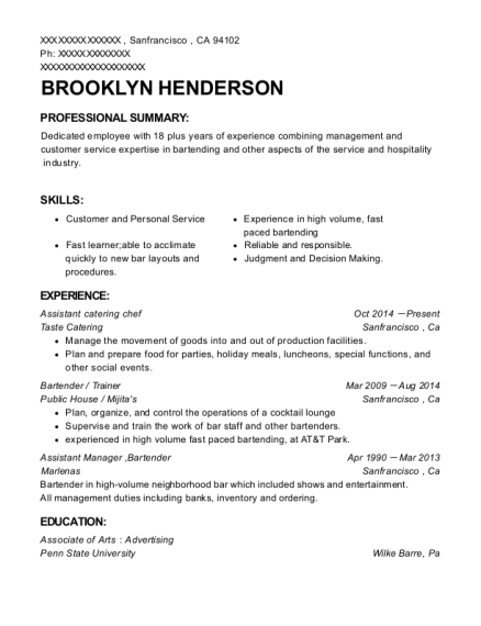 Assistant catering chef resume format California