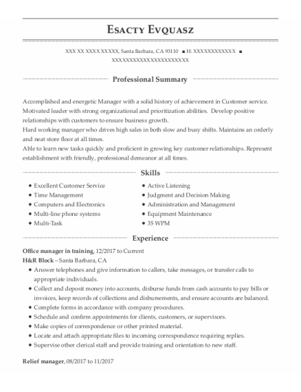 Relief Manager resume example California