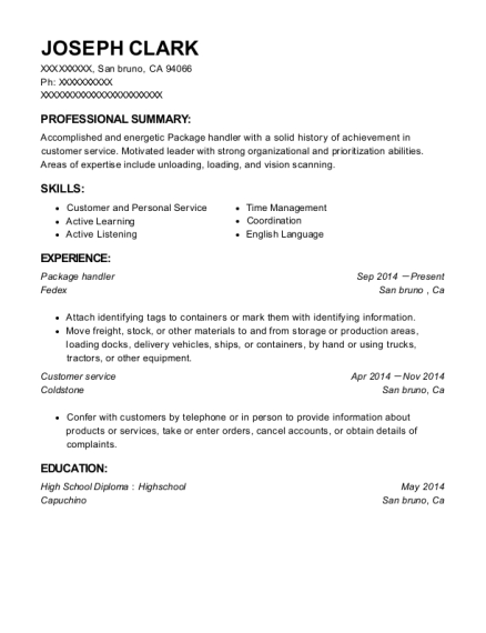 Package handler resume sample California