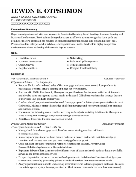 Private Client Mortgage Banker resume sample California