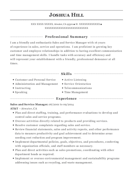 Sales and Service Manager resume template California