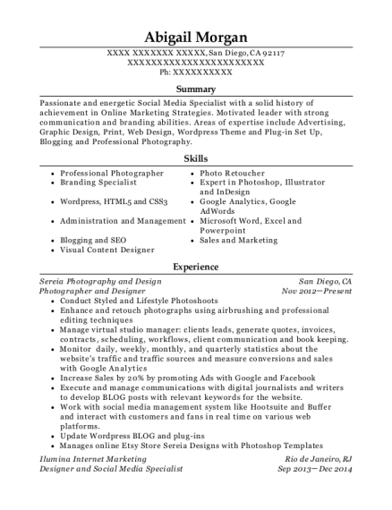 Photographer and Designer resume sample California
