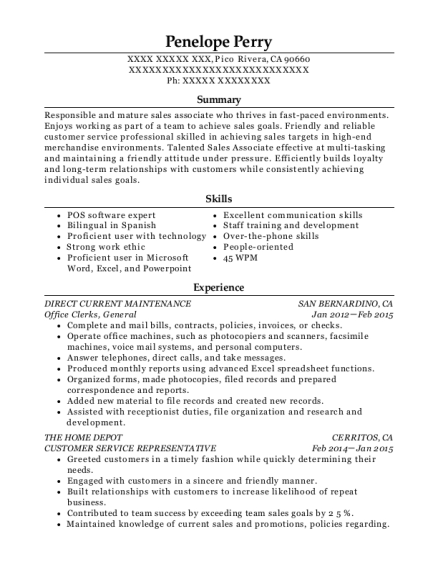 Office Clerks resume format California