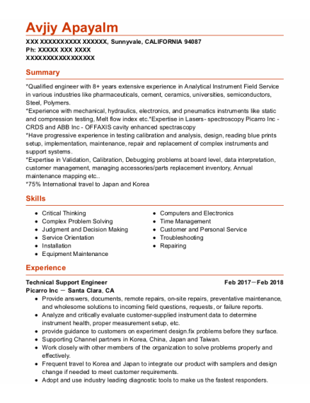 Technical Support Engineer resume format CALIFORNIA