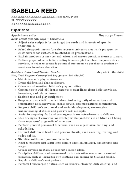 Appointment setter resume sample California