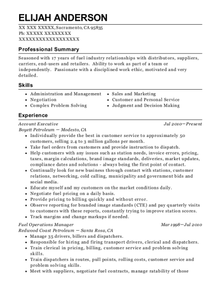 Account Executive resume sample California
