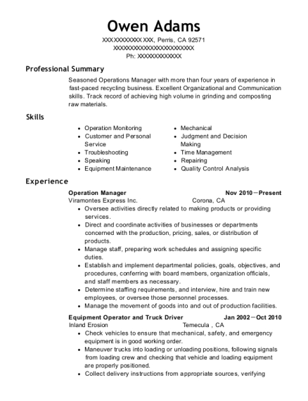 Operation Manager resume sample California