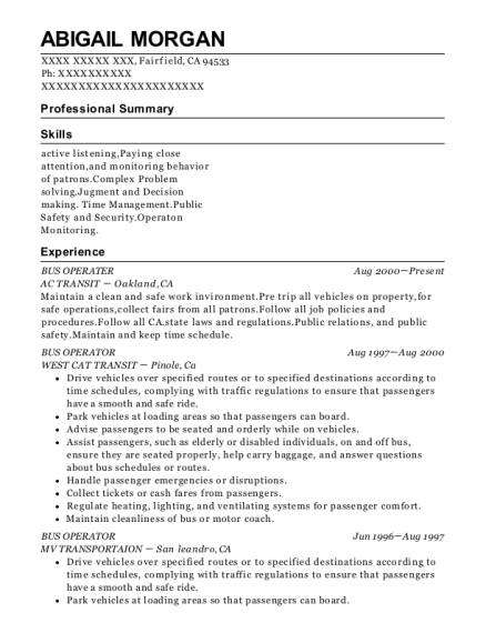 BUS OPERATER resume format California