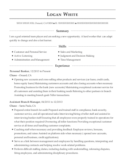 Personal Banker resume example California
