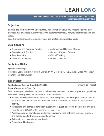 Sr Customer Service Specialist resume format California
