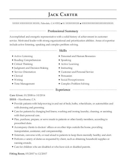 Care Giver resume format California