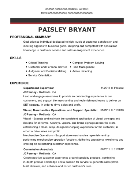 Department Supervisor resume template California