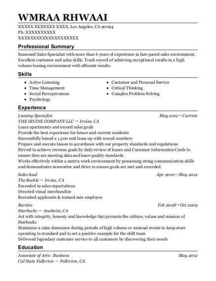 Leasing Specialist resume sample California