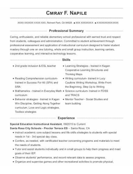 Special Education Instructional Assistant resume format California