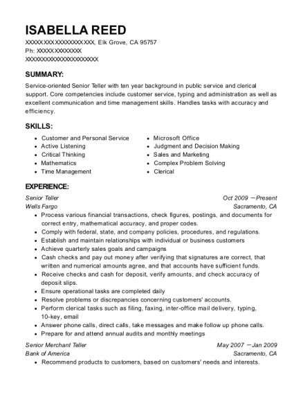 United Carolina Bank Senior Teller Resume Sample