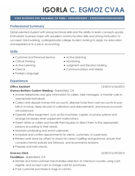 Office Assistant resume example California
