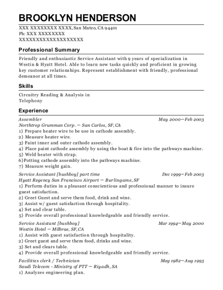 Assembler resume example California