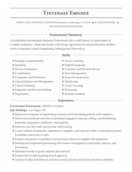 Coo resume sample California