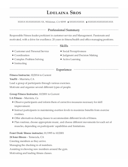 Fitness Instructor resume template California