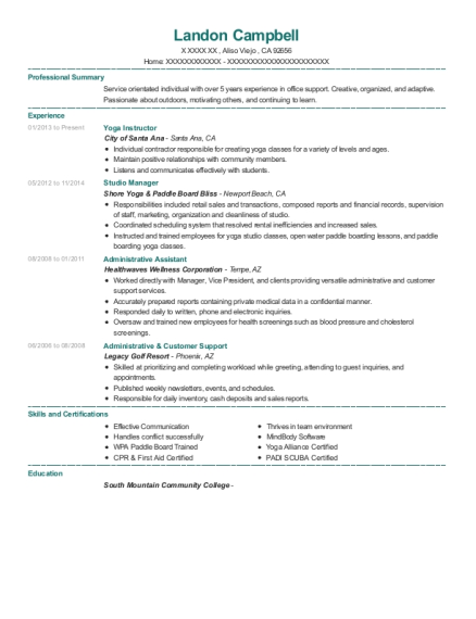 Yoga Instructor resume sample California