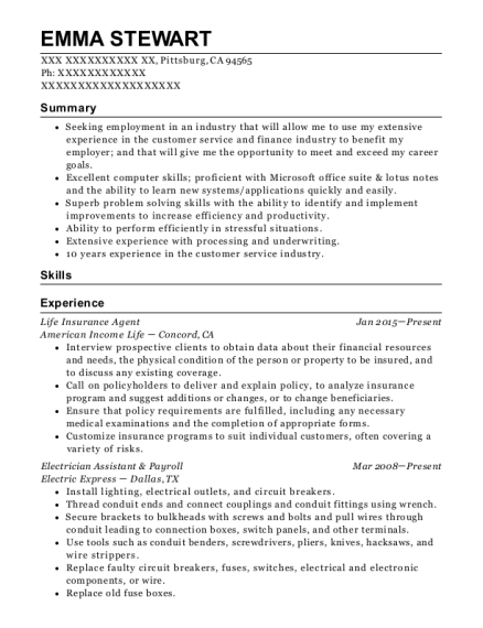 Life Insurance Agent resume sample California