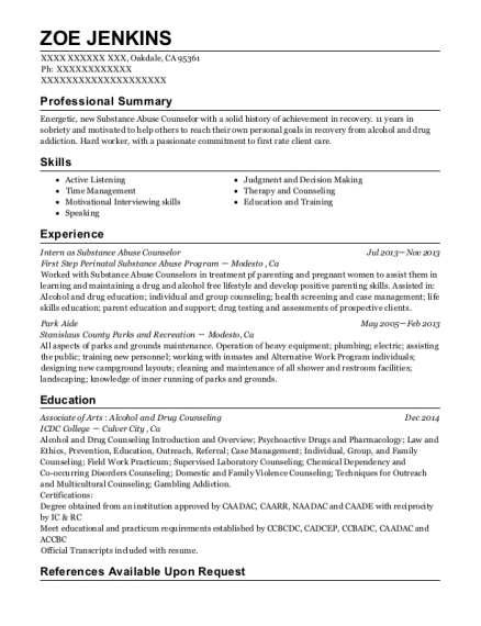 Intern as Substance Abuse Counselor resume format California