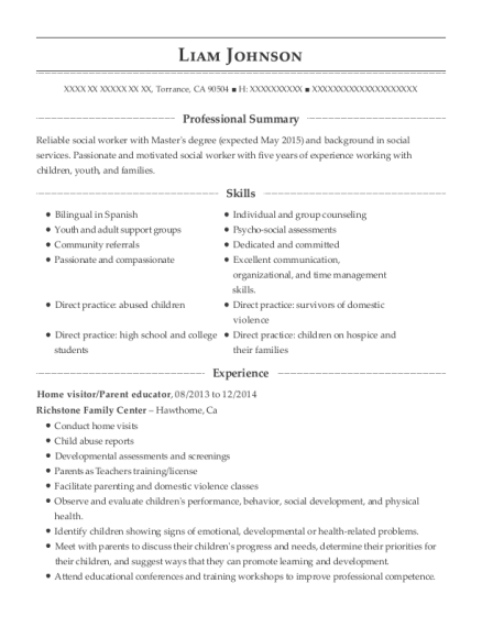 Home visitor resume example California