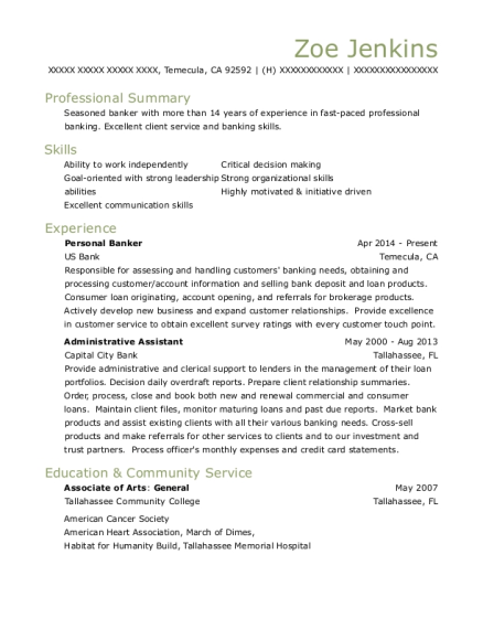 Personal Banker resume sample California