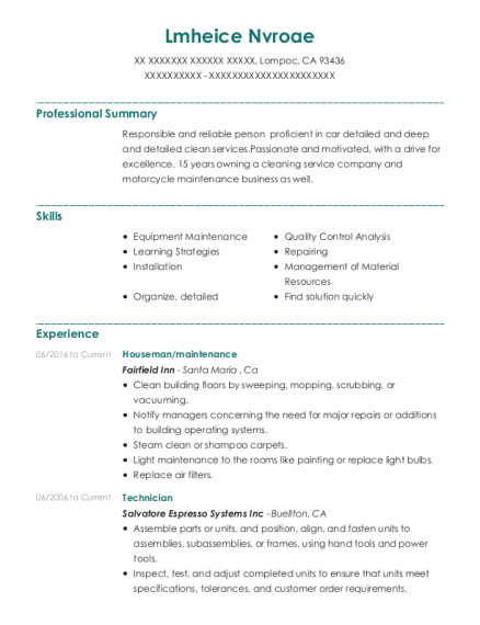 Houseman resume example California