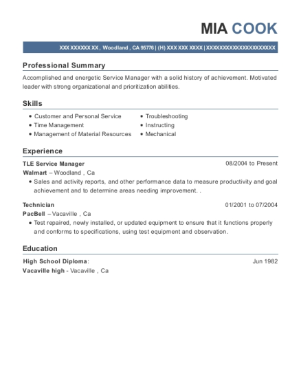 TLE Service Manager resume sample California