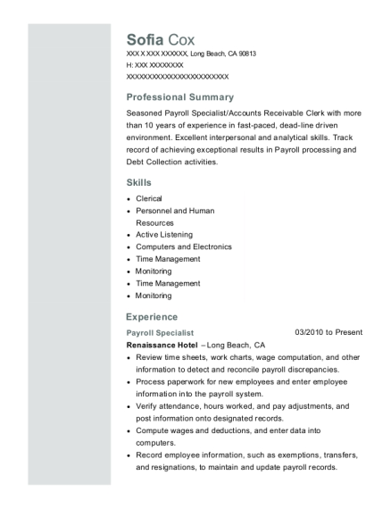Payroll Specialist resume template California