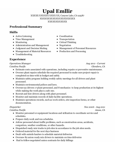 Operations Manager resume format California