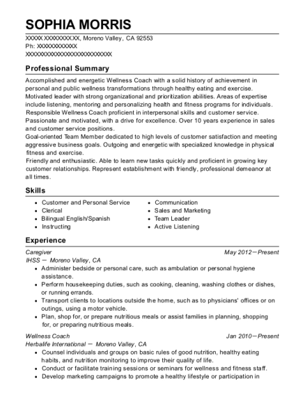 Caregiver resume format California