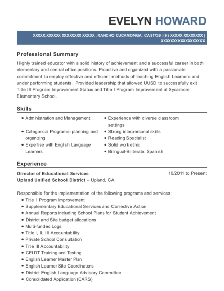 Director of Educational Services resume template California