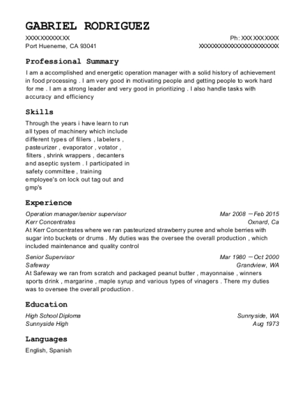 Operation manager resume template California