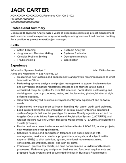 Information Systems Analyst II resume template California
