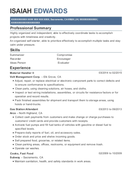 Material Handler ll resume sample California