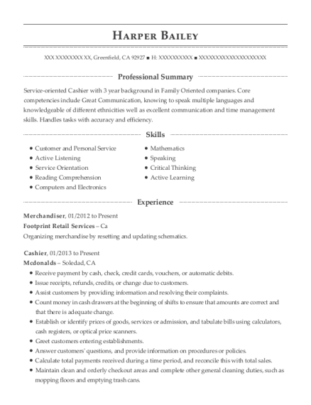 Merchandiser resume template California