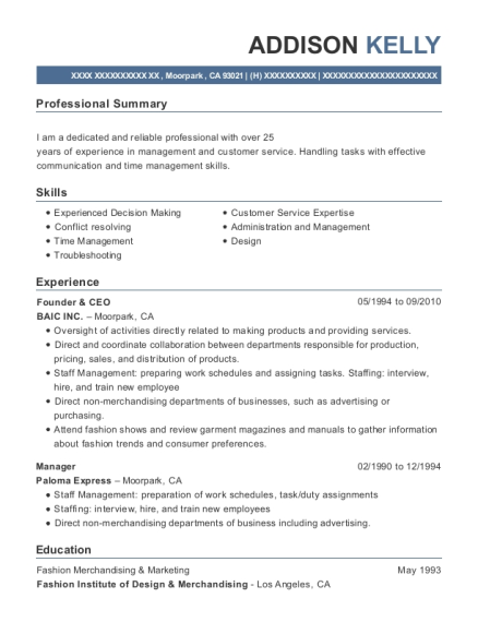 Founder & CEO resume example California