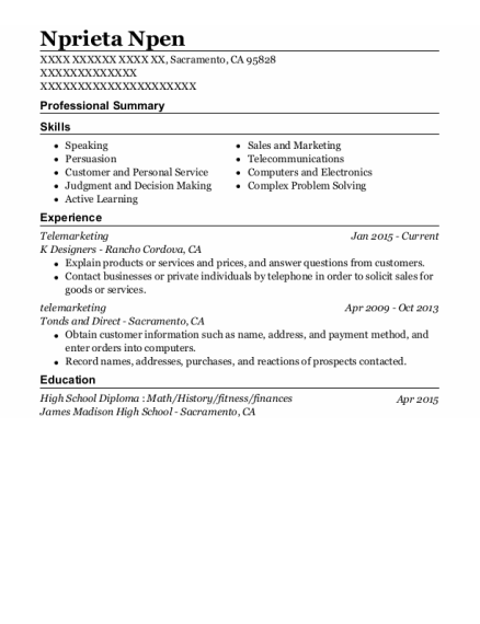 Telemarketing resume format California