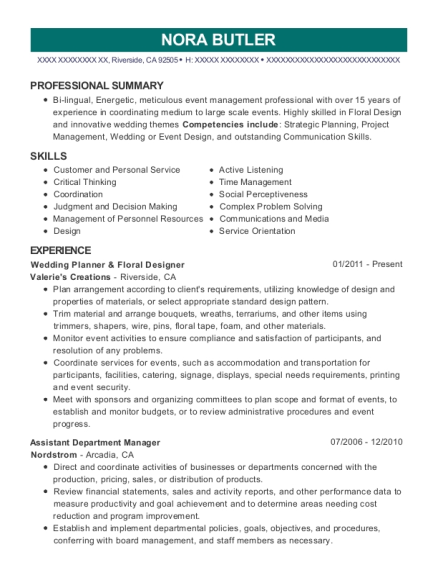 Wedding Planner & Floral Designer resume template California