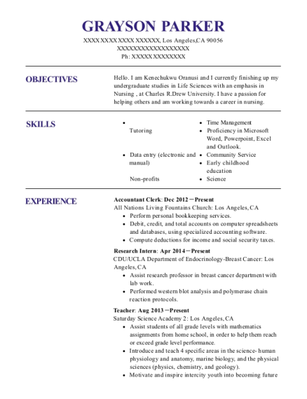 Accountant Clerk resume example California