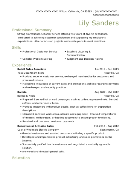 Retail Sales Associate resume template California