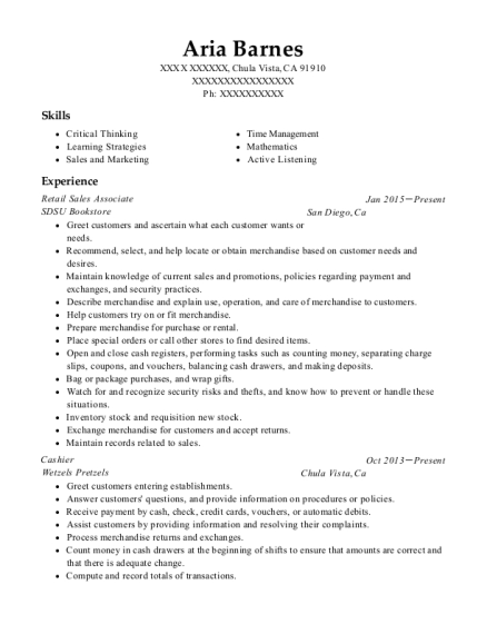Retail Sales Associate resume example California